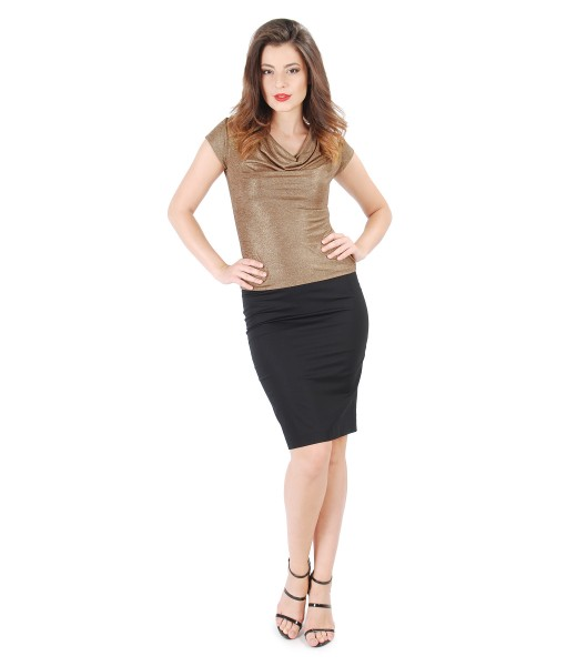 Tinuta eleganta cu bluza din jerse elastic auriu si fusta conica