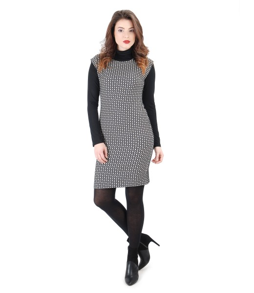 Rochie din brocart elastic de bumbac cu bluza neagra din jerse