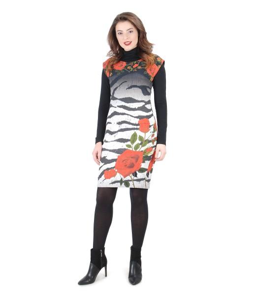 Rochie din brocart elastic cu bluza neagra din jerse elastic