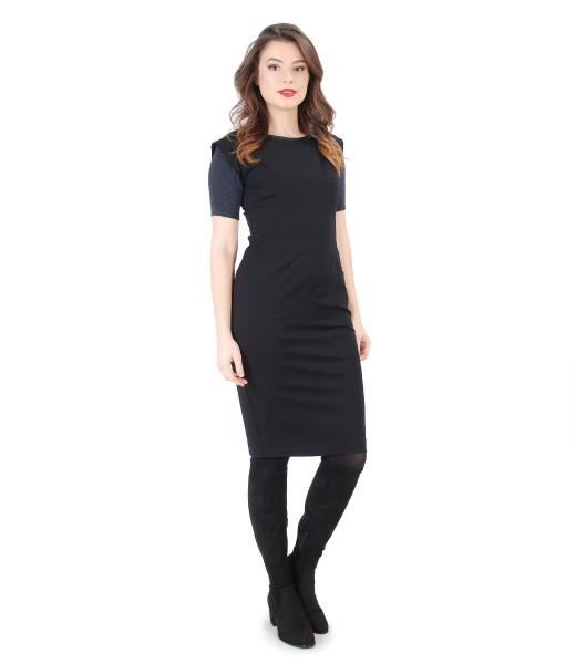 Rochie eleganta cu bluza din jerse cu lana