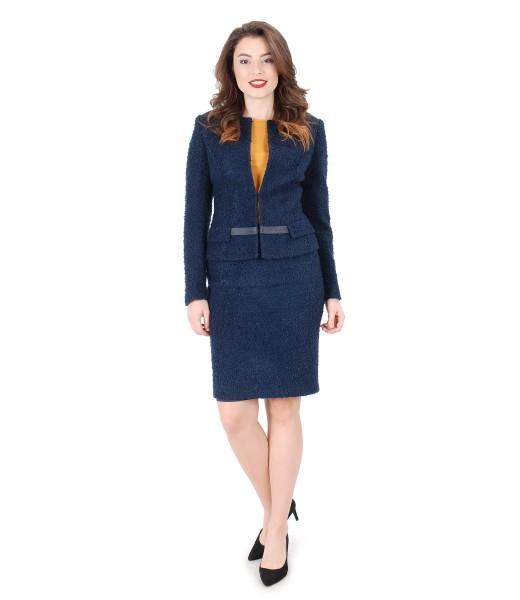 Costum office dama cu sacou si fusta din bucle cu lana