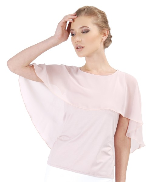 Bluza eleganta cu pelerina din voal si nasture Swarovski la spate