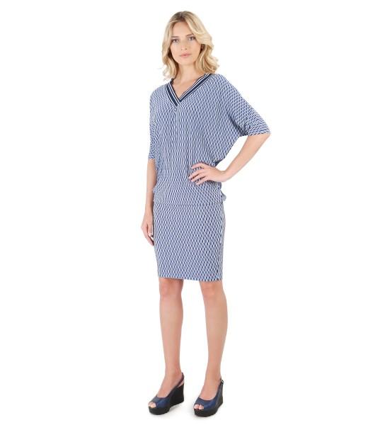 Rochie midi din jerse de viscoza brocat cu maneca chimono