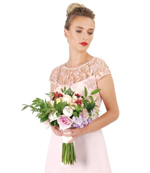 Rochie eleganta cu dantela cu motive florale