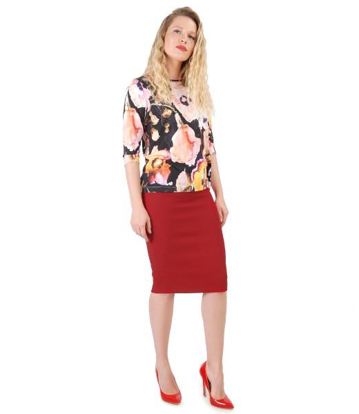 Bluza din jerse imprimat cu flori si fusta creion