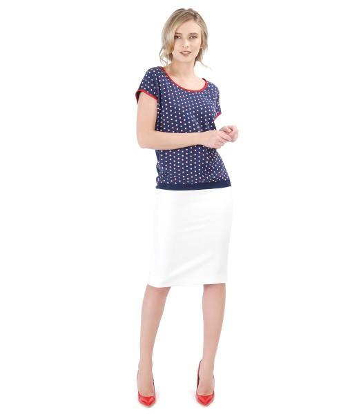Tinuta eleganta cu bluza cu fata din vascoza imprimata si fusta creion