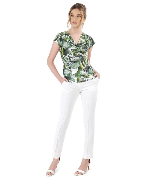 Bluza din jerse imprimat si pantaloni pana