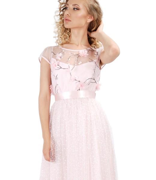 Rochie de seara cu dantela cu motive florale