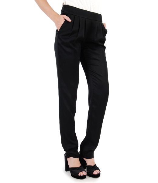 Pantaloni din viscoza cu buzunare si falduri