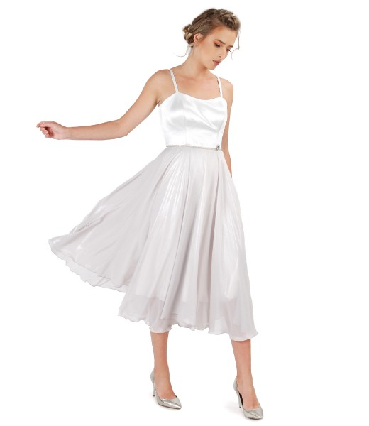 Rochie de ocazie cu corset si fusta din voal sidefat