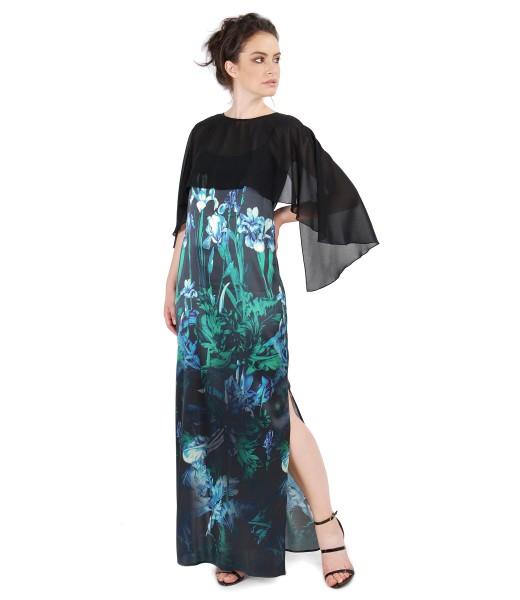Tinuta de ocazie cu rochie din matase naturala si capa din voal