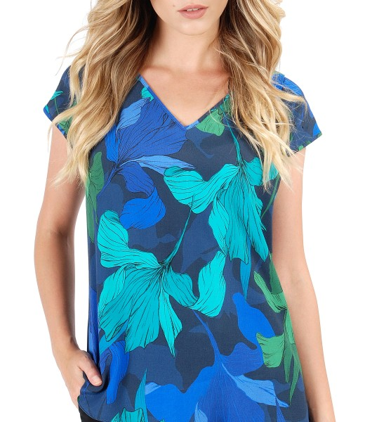 Bluza lejera cu fata din vascoza imprimata cu motive florale