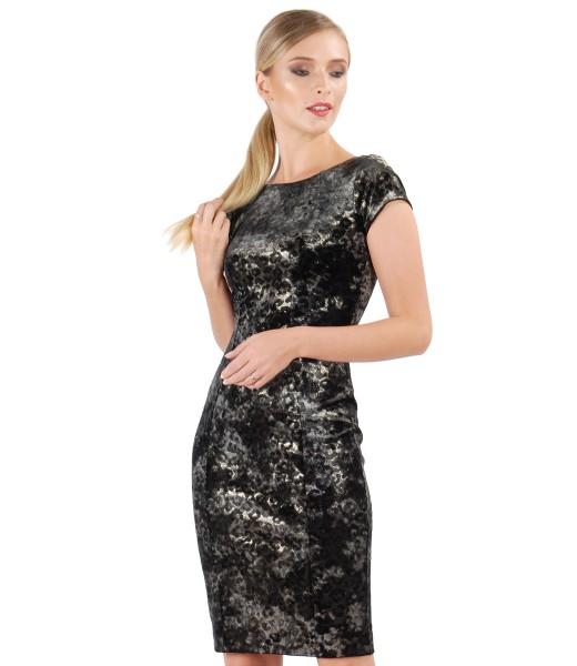 Rochie de seara din catifea elastica brocata