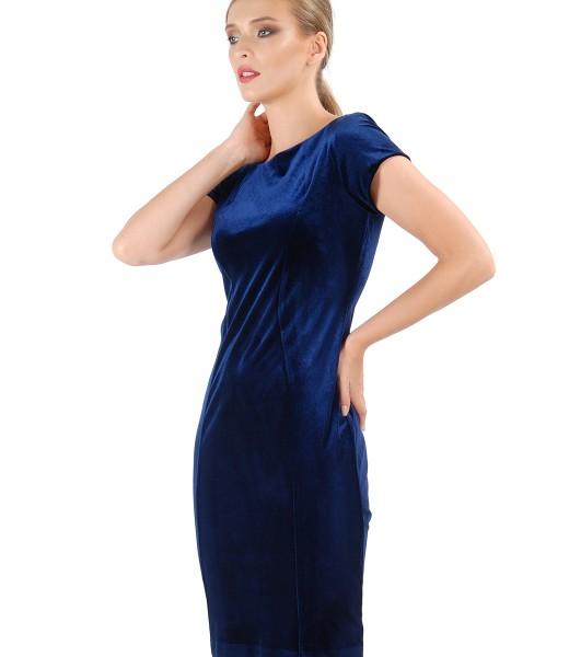 Rochie midi din catifea elastca uni