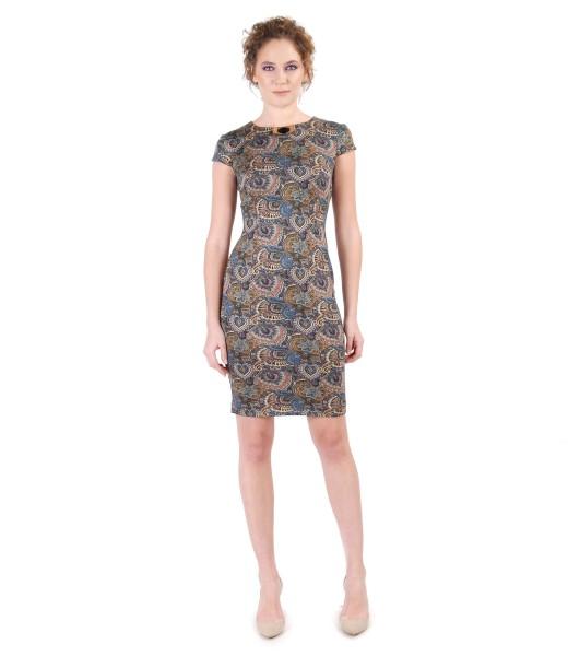Rochie midi din jerse elastic imprimat cu motive florale