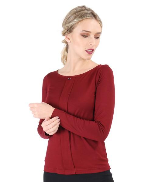 Bluza din jerse elastic cu fald si aplicatie de cristale Swarovski