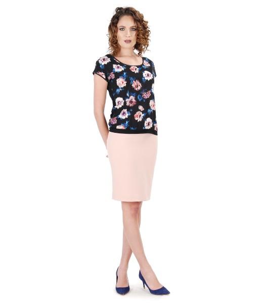 Tinuta eleganta cu fusta midi si bluza cu fata imprimata cu motive florale