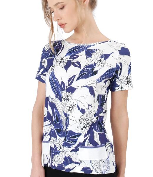 Bluza din jerse elastic cu clape decorative din voal
