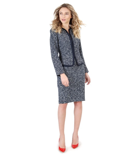 Costum dama office cu fusta si sacou din bucle cu bumbac