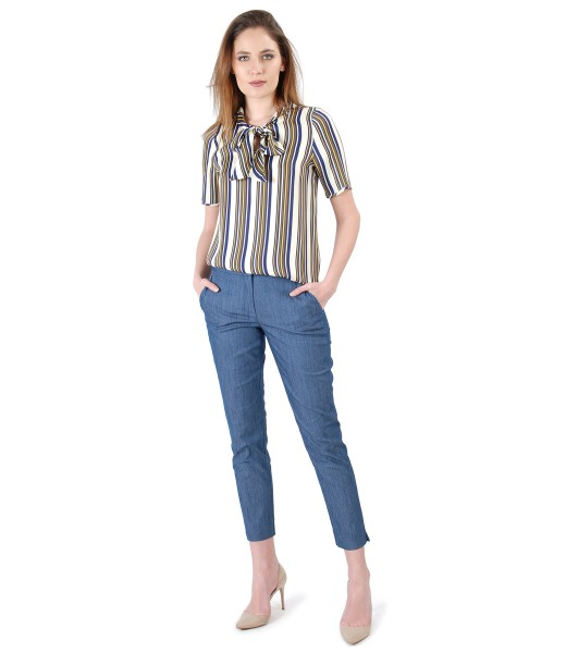 Pantaloni din bumbac tip denim si bluza din vascoza in dungi