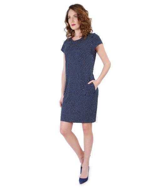 Rochie din jerse elastic imprimat cu picouri