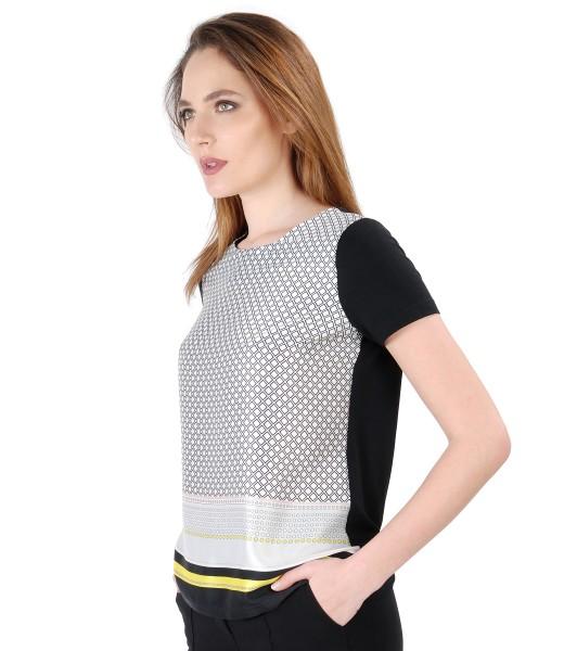 Bluza cu fata imprimata cu motive geometrice
