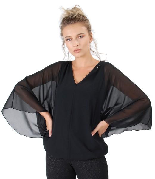 Bluza tip fluture cu aplicatie de cristale Swarovski la decolteu