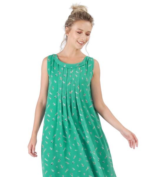 Rochie din voal imprimat cu falduri pe fata