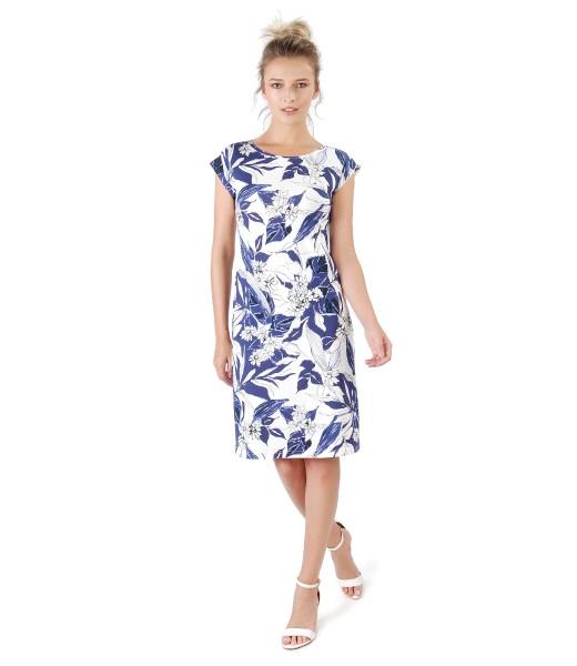 Rochie din jerse imprimat cu motive florale
