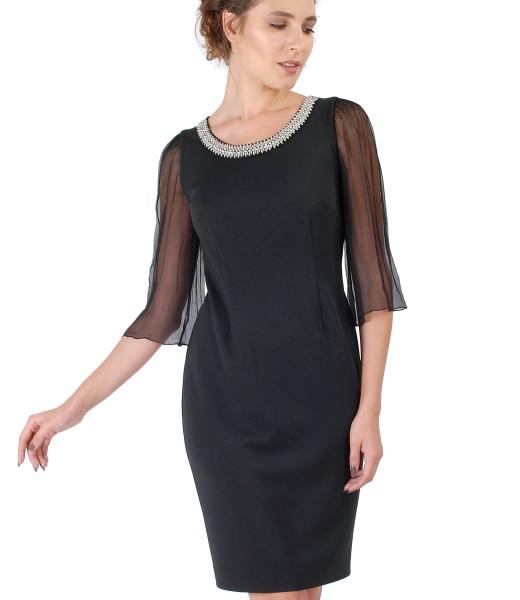 Rochie eleganta cu maneci din voal de matase