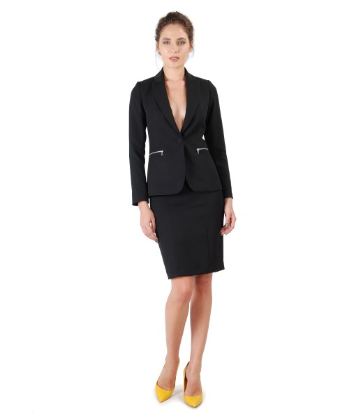 Costum dama office cu sacou si fusta cu fermoare decorative