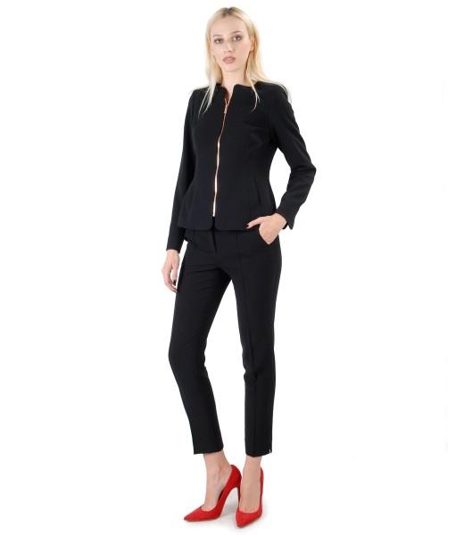 Costum dama office cu sacou si pantaloni din stofa elastica neagra