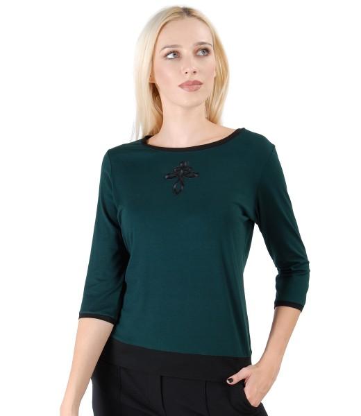 Bluza din jerse elastic cu ornament fata