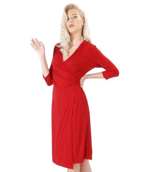 Rochie din jerse elastic cu efect lucios