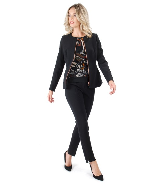 Costum dama office cu pantaloni si sacou cu fermoar