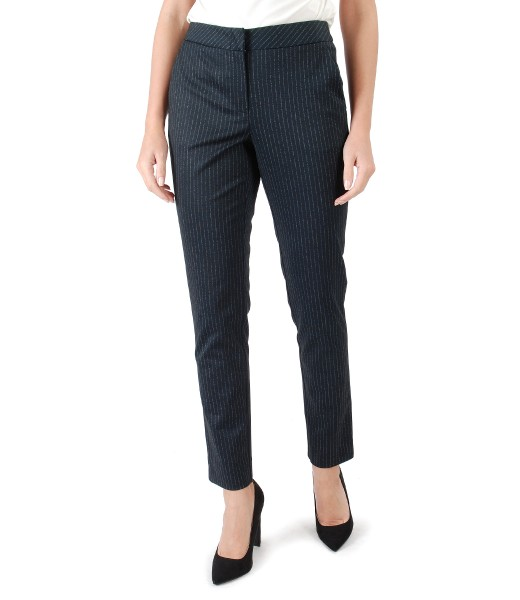 Pantaloni pana din jerse elastic gros cu dungi