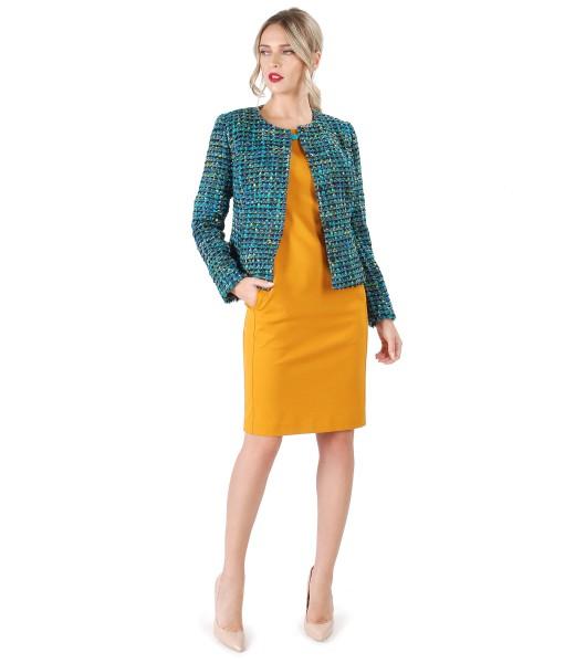 Rochie midi cu sacou din bucle multicolor