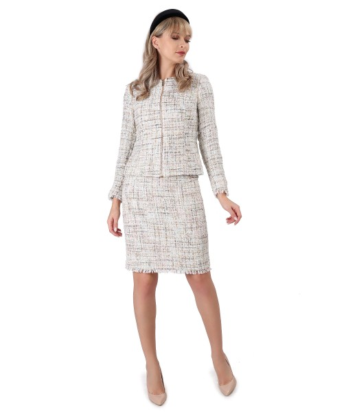 Costum dama office cu fusta si sacou din bucle cu paiete si fir de efect