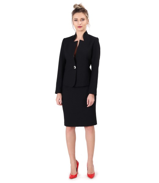 Costum dama office cu sacou si fusta din stofa elastica