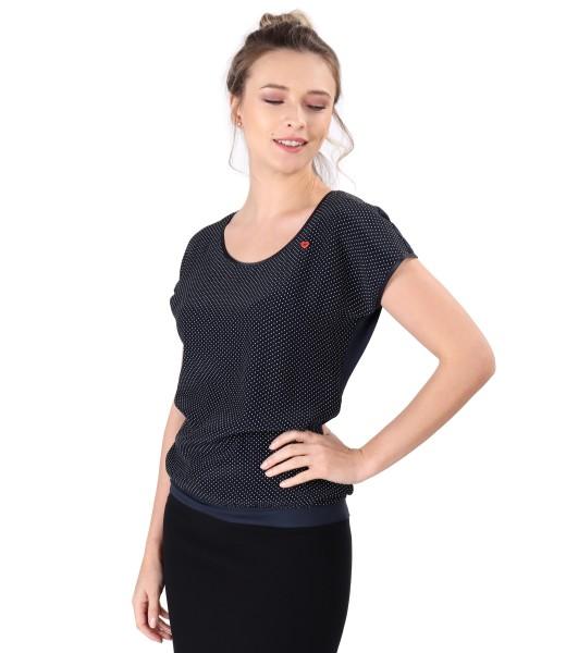 Bluza cu fata din vascoza imprimata cu picouri