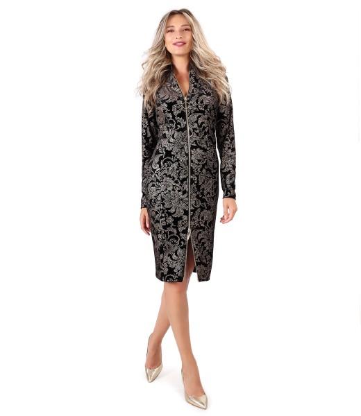 Rochie midi din catifea elastica cu fermoar cu dubla deschidere