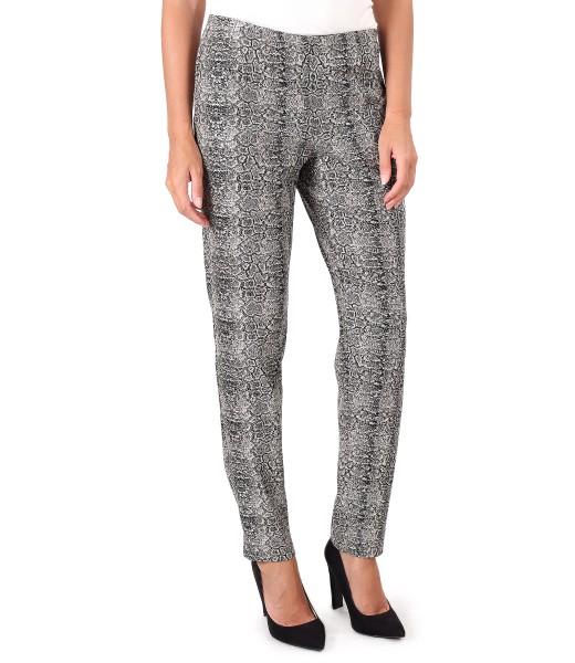 Pantaloni din stofa cu animal print si fir de lurex