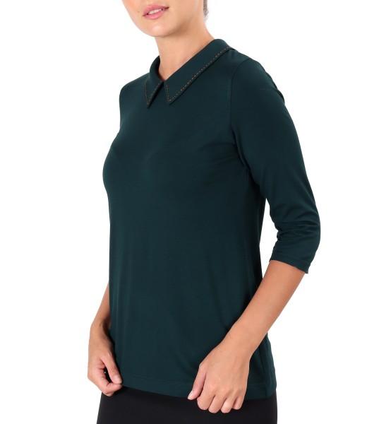 Bluza din jerse cu guler cu cusatura in contrast