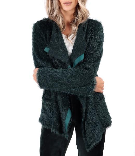 Cardigan tricotat cu rips pe fata