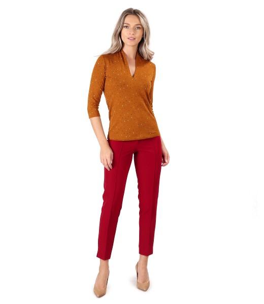 Bluza din jerse elastic imprimat cu pantaloni pana