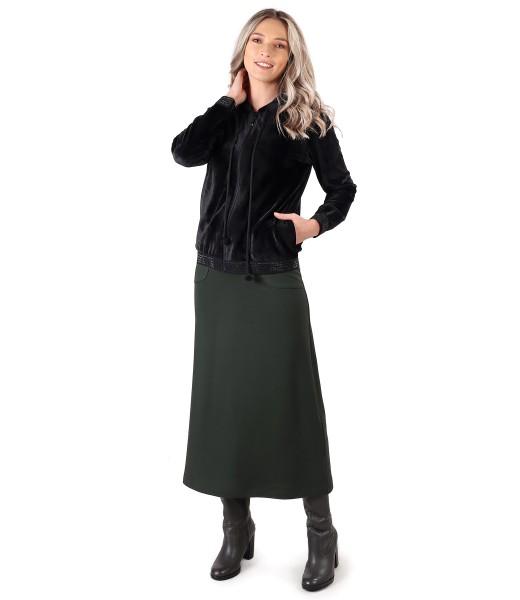Hanorac din catifea cu fusta lunga din jerse elastic flausat