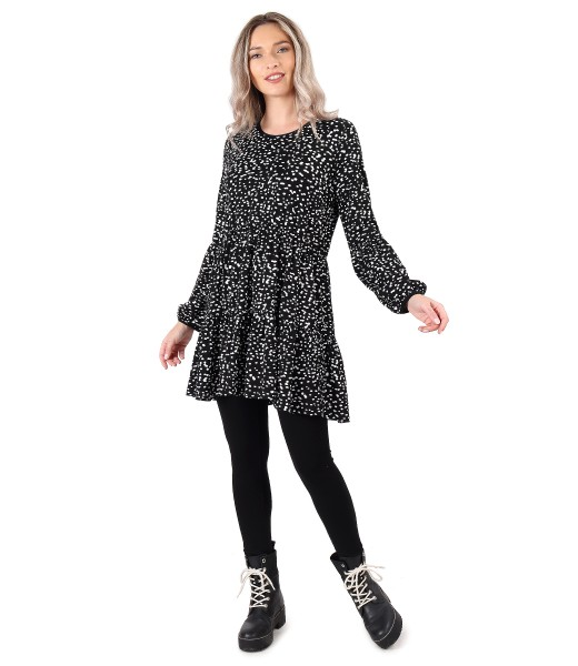 Tinuta smart/casual cu rochie cu volane si colanti din jerse elastic