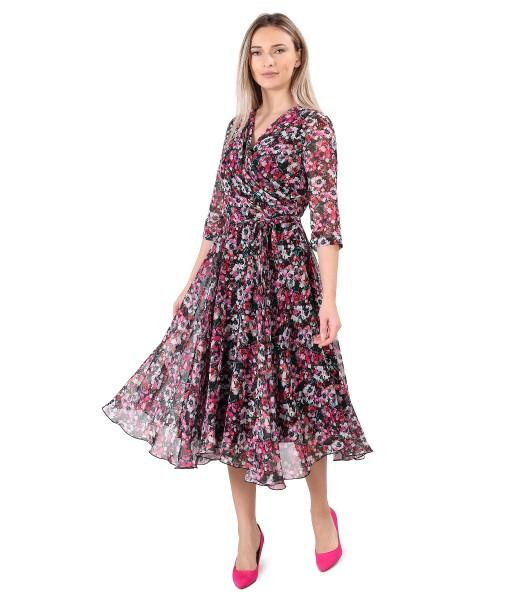 Rochie eleganta din voal imprimat cu motive florale