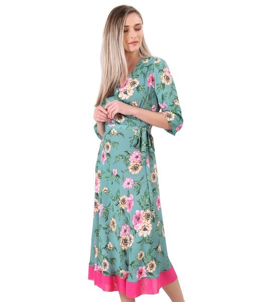 Rochie imprimata cu motive florale si cordon in talie