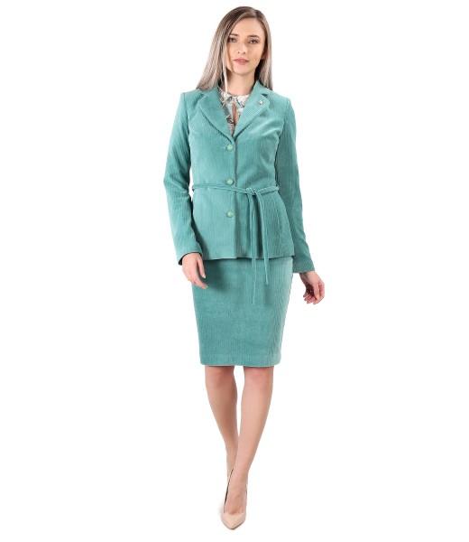 Costum dama office cu fusta si sacou din catifea raiata
